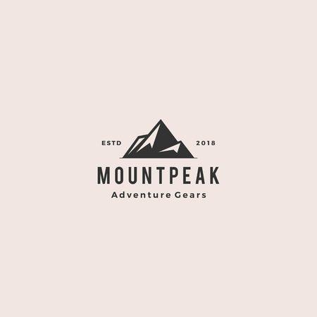mount peak mountain logo hipster vintage retro vector icon illustration  イラスト・ベクター素材