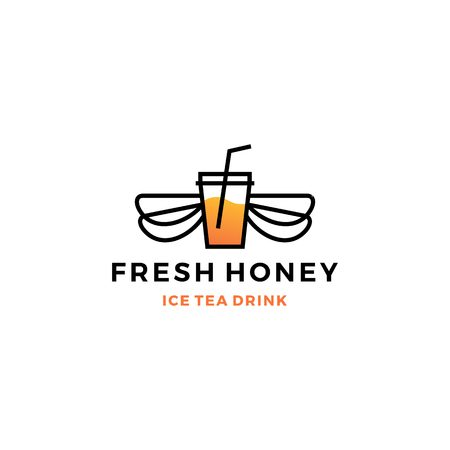 honey ice tea cup bubble drink logo vector icon label illustration