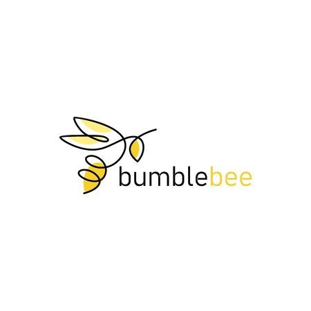 Contour de bourdon icône abeille ligne continue