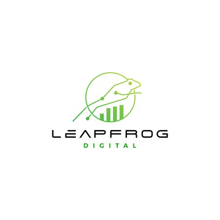 Leapfrog tech digital chart statistics icon design 向量圖像