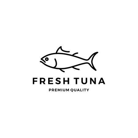 Thunfisch-Logo-Emblem-Etikett-Meeresfrüchte-Vektorikone