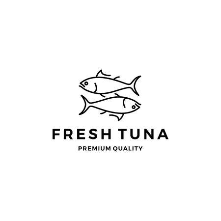 tuna fish logo emblem label seafood vector icon Logo