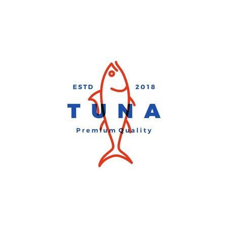 Tuna fish emblem label seafood icon