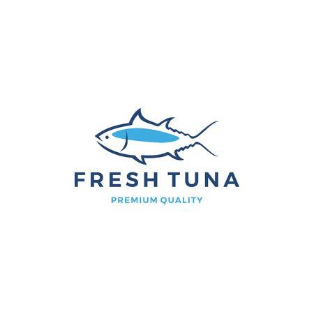 Thunfisch-Emblem-Etikett-Meeresfrüchte-Ikone Vektorgrafik