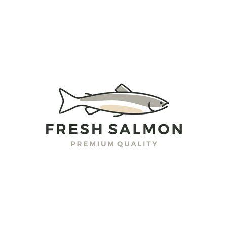 salmon fish logo seafood label badge vector sticker download Ilustração