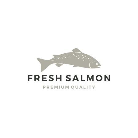 Lachs Fisch Logo Meeresfrüchte Label Abzeichen Vektor Aufkleber herunterladen