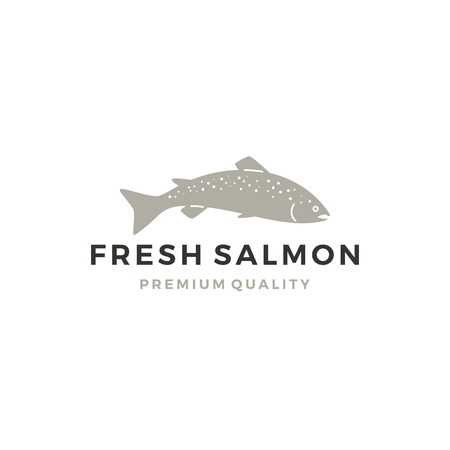 salmon fish logo seafood label badge vector sticker download Иллюстрация