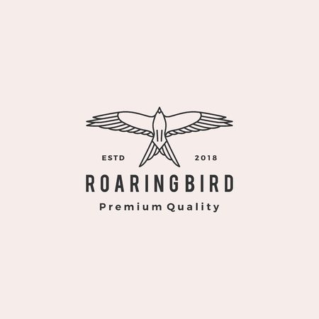 roaring bird logo retro hipster vintage vector icon illustration