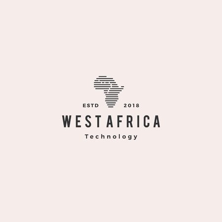 west africa tech digital logo hipster vintage retro vector icon