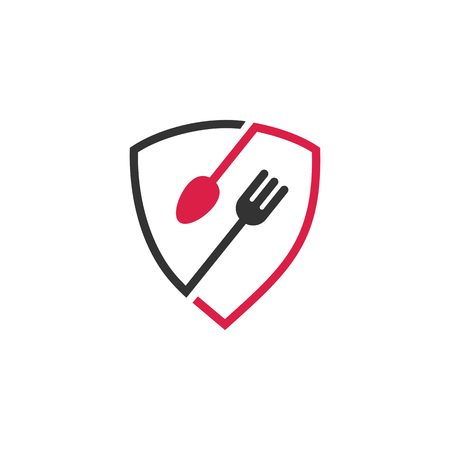 secure food shield restaurant fork spoon logo vector icon Illustration