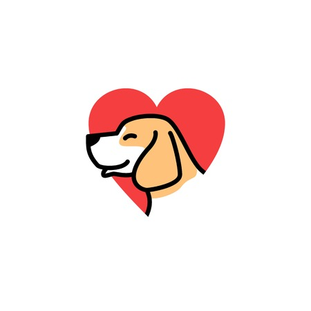dog love smile cute logo vector icon illustration download