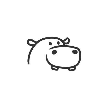 Nilpferd Logo Linie Umriss Maskottchen Charakter
