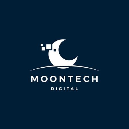 moon tech digital logo vector icon