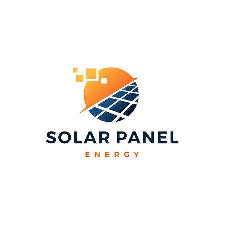 icona del vettore del logo dell'elettricità elettrica dell'energia del pannello solare Logo
