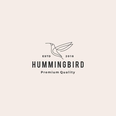hummingbird colibri bird logo line outline monoline vector icon illustration
