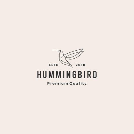 hummingbird colibri bird logo line outline monoline vector icon illustration