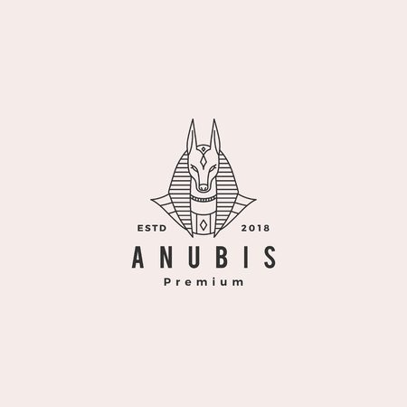 anubis logo vector hipster retro vintage label illustration