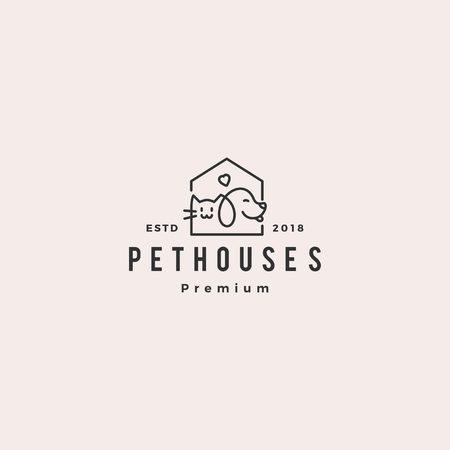 chien chat animalerie maison boutique logo vecteur hipster retro vintage illustration