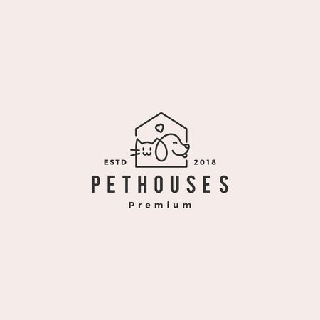 dog cat pet house shop logo vector hipster retro vintage illustration  イラスト・ベクター素材