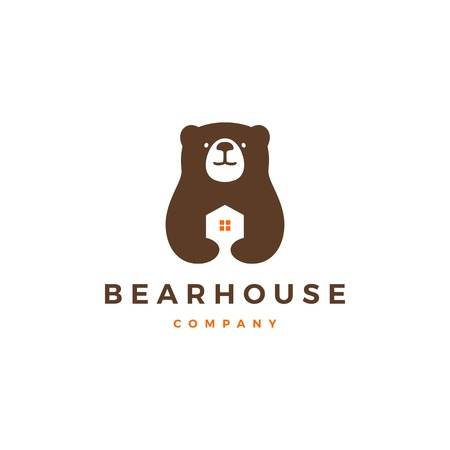 bear house home logo vector icon illustration