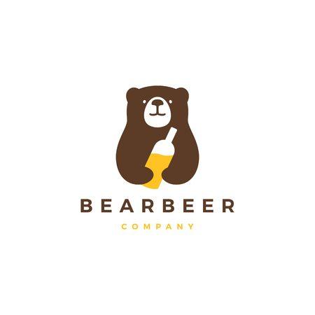 bear beer logo vector icon illustration
