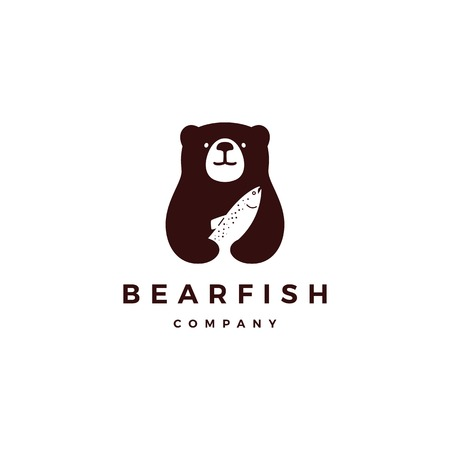 bear fish salmon logo vector icon illustration