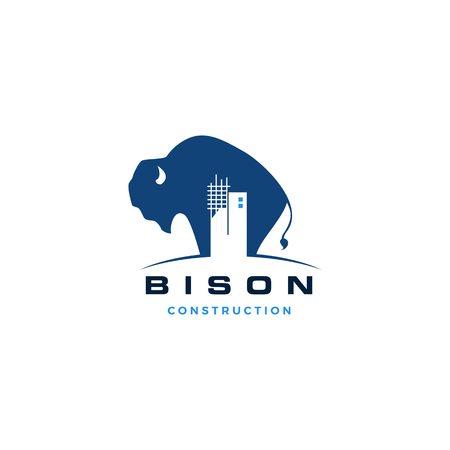 bison construction building logo vector icon illustration Logo