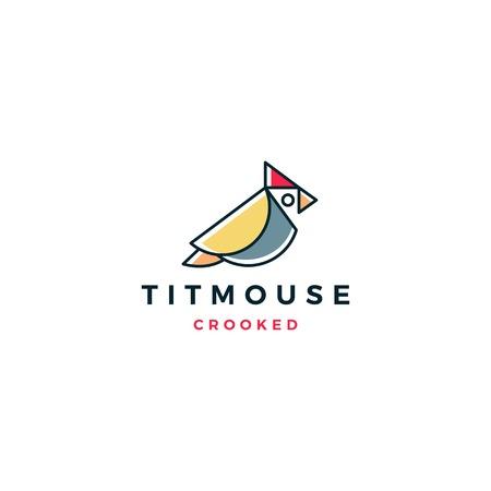 crooked titmouse bird logo vector icon illustration Illusztráció