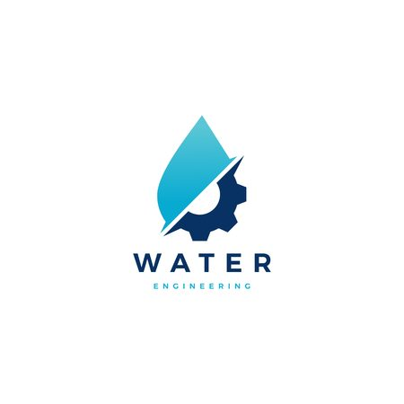 water drop gear energy engineering logo vector icon illustration