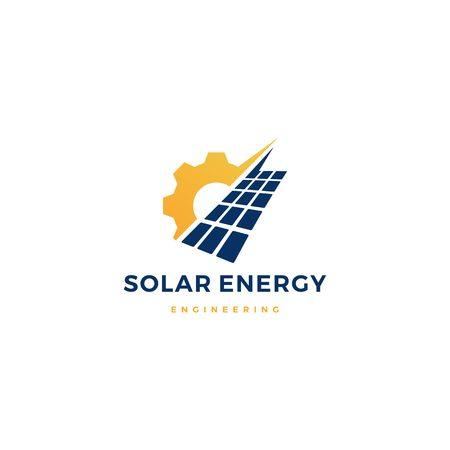 solar panel energy service logo vector icon illustration