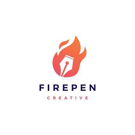 pen fire flame logo vector icon Иллюстрация