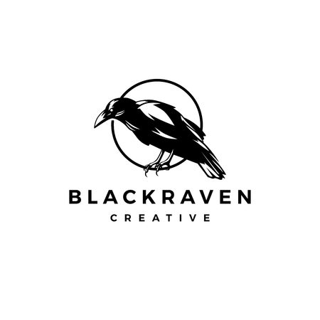 black raven crow logo vector icon illustration Archivio Fotografico - 114269129
