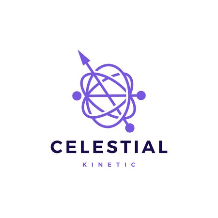 celestial orbital kinetic pendulum logo vector icon illustration