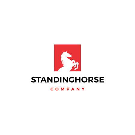 standing horse logo vector icon illustration square