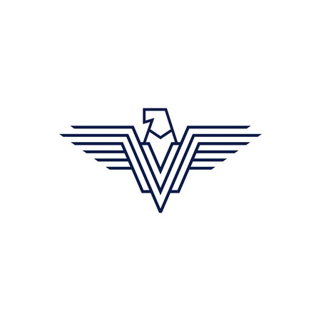 falcon eagle v letter wings logo vector icon line outline illustration