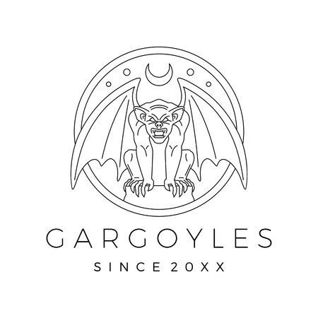 gargoyles gargoyle logo vector outline illustration