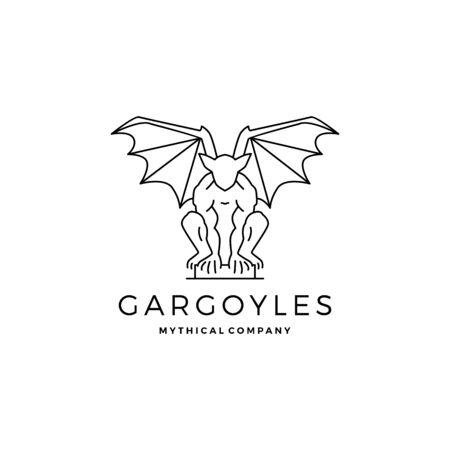 gargoyles vector outline illustration Vectores