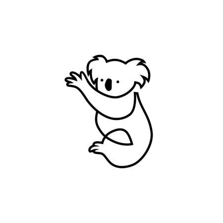 koala vector icon line outline illustration
