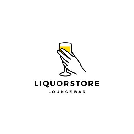 liquor store shop cafe beer wine logo vector icon illustration
