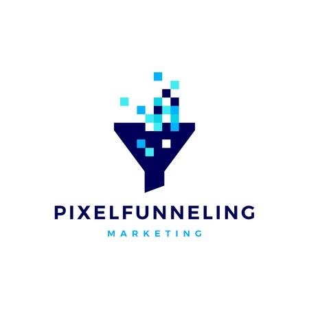 pixel funneling logo icon vector illustration