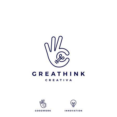 ok Handgeste Glühbirne Idee Logo Vektor Icon Illustration