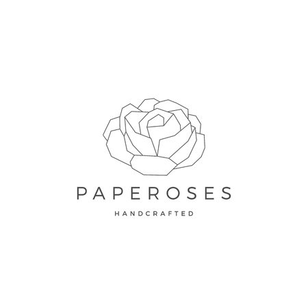 geometric paper flower rose logo vector icon illustration line outline monoline