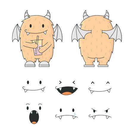 cute monster drink bubble tea character mascot cartoon logo vector illustration kit