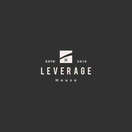 leverage house home logo hipster vector retro vector icon Logo