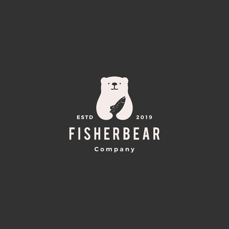 bear fish salmon logo hipster retro vintage vector icon illustration