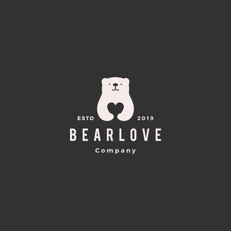 bear love logo hipster retro vintage vector icon illustration Illustration