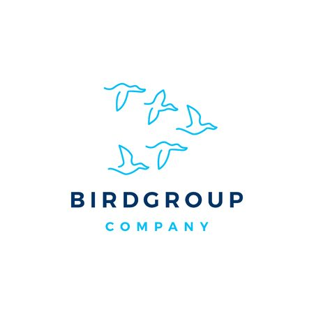 bird group colony logo vector icon illustration