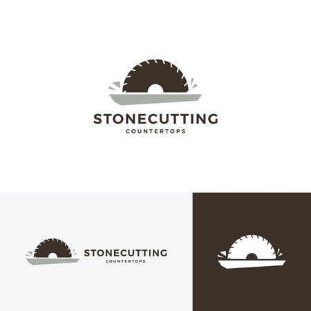 Steinschneiden und Arbeitsplatten-Logo-Vektor-Symbol