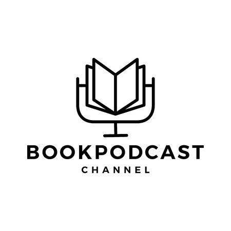 book podcast logo icon for book blog video vlog review channel