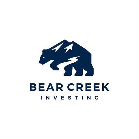 bear creek mount logo vector icon illustration